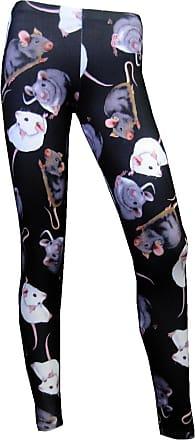 Insanity Cute Mouse Rats Printed Alternative Leggings Goth Punk Emo (L/XL) Black
