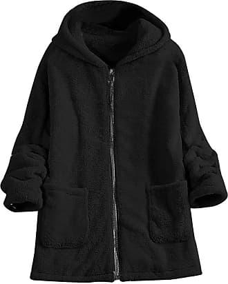 FNKDOR Womens Fluffy Coat Winter Jacket Casual Solid Cardigan Pocket Hooded Overcoat Outwear Tunic(Black,L