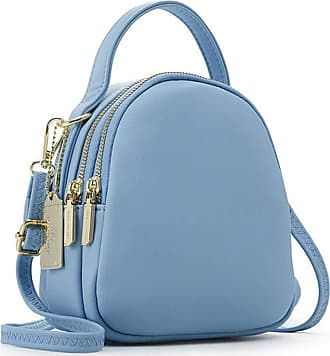 Generic WomenS Large-Capacity Leather Backpack, Simple And Cute Handbag, Suitable For Travel And Outing -blue
