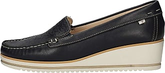 Valleverde Loafers Woman Fabric and Leather 11216 Red or Blue or Beige. A Comfortable Footwear Suitable for All Occasions. Spring Summer 2020 Blue Size: 4 UK