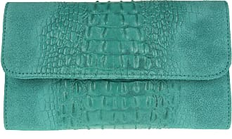 Girly HandBags Girly HandBags Croc Suede Clutch Bag Italian Leather - Turquoise(Size: W 26, H 15, D 3 cm (W 10.5, H 6, D 1.5 inches))