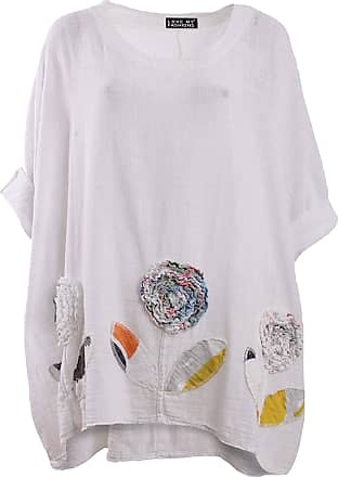 Love my Fashions Ladies 3D Flower Patch Work Linen Box Top Summer Special Womens Baggy Look Crew Neck Long Sleeve Tunic Dress Top Plus Size White
