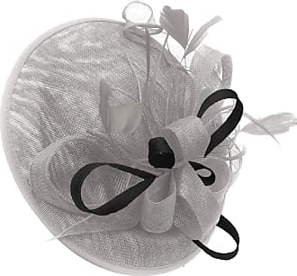 Caprilite Silver Grey and Black Sinamay Big Disc Saucer Fascinator Hat for Women Weddings Headband