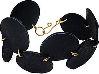 Tinna Jewelry Pulseira Dourada Círculos De Couro (Preto)