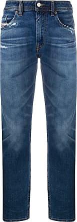 Diesel Calça jeans reta com efeito desbotado - Azul