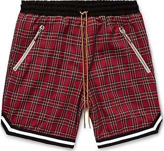 Rhude Checked Cotton Drawstring Shorts - Red