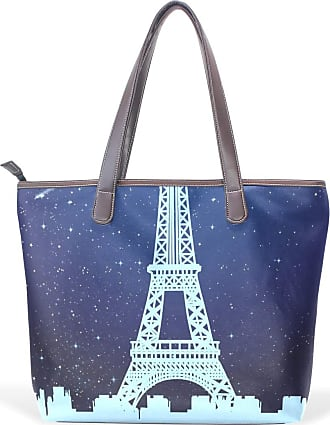 NaiiaN Handbags Purse Shopping Light Weight Strap Leather Starry Sky Galaxys Eiffel Tower for Women Girls Ladies Student Tote Bag Shoulder Bags Mermaid