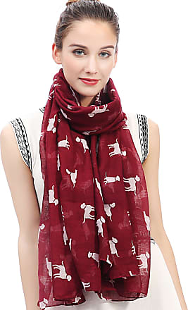 Lina & Lily Labrador Dog Print Womens Large Scarf Lightweight (Maroon)(Size: One Size)