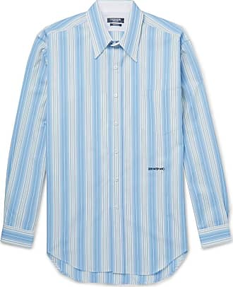 CALVIN KLEIN 205W39NYC Striped Cotton-poplin Shirt - Light blue
