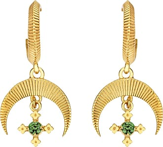 Zoe & Morgan Sacha Ohrringe Chrom Diopsid Gold - one size | gold plated sterling silver | gold | Green Field - Gold/Gold