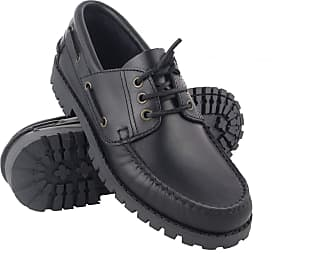 Zerimar Mens Leather Boat Shoes | Men Nautic Shoes | Moccasin Shoes for Men | Colour: Black Size 11.5 UK - 44 EU