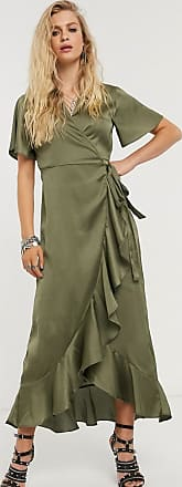 Object satin wrap maxi dress with ruffle trim in olive-Green