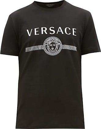 Versace Medusa-head Logo-print Cotton T-shirt - Mens - Black