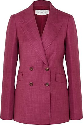 Gabriela Hearst Angela Double-breasted Wool, Silk And Linen-blend Blazer - Burgundy