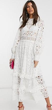 Asos Midi-jurk met pofmouwen van broderie-Wit