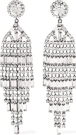 Kenneth Jay Lane Gunmetal Crystal Earrings - Silver