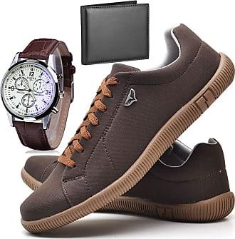 Juilli Kit Sapatênis Sapato Casual Com Relógio e Carteira Masculino JUILLI 920DB Tamanho:37;cor:Marrom;gênero:Masculino