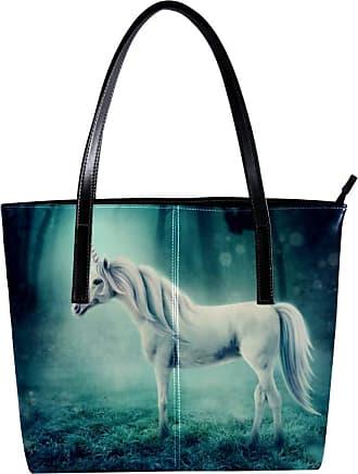 Nananma Womens Bag Shoulder Tote handbag with White Unicorn In A Dark Forest Print Zipper Purse PU Leather Top-handle Zip Bags