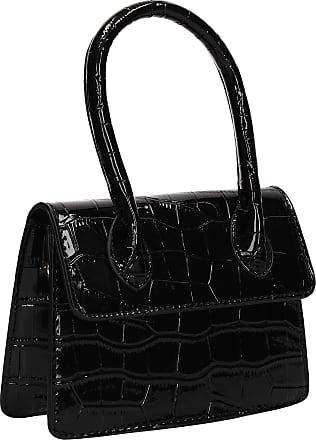 Swankyswans Jess Croc Effect Crossbody Clutch Mini Statement Bag Black