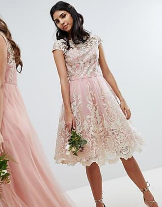 Chi Chi London Premium Lace Midi Prom Dress with Bardot Neck - Pink