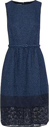 Oscar De La Renta Oscar De La Renta Woman Lace-paneled Belted Cotton-blend Tweed Dress Navy Size 4