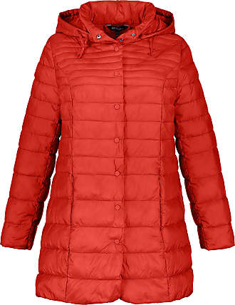 Ulla Popken Womens Plus Size Removable Hood Long Quilted Jacket Carmine Red 24/26 719904 53-50+