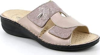 GrÜnland DARA CE0678 Powder Laminated Leather Slippers with Removable Insole 2 Bands with Tears Wedge CM.4 Made in Italy