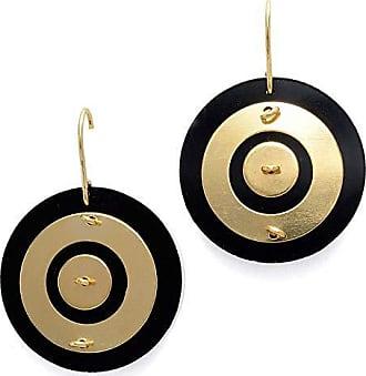Tinna Jewelry Brinco Dourado Disco De Acrílico (Preto)