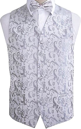DQT Mens Passion Floral Wedding Waistcoat Bow Tie & Hanky (46, Silver)