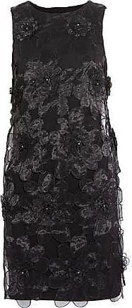 Badgley Mischka Badgley Mischka Woman Embellished Organza-paneled Twill Mini Dress Black Size 0
