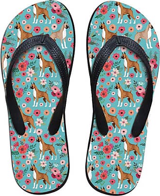 Hugs Idea Boxer Floral Print Flip Flops for Teen Girl Summer Beach Water Shoes Home Slippers UK6