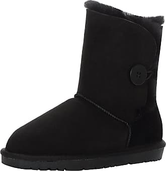 Jamron Women Classy Sheepskin Mid-Calf Snow Boots Warm Shearling Wool Lined Winter Boots with Button Black SN021013 UK7.5