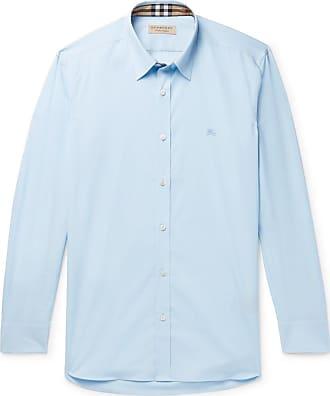 Burberry Slim-fit Stretch-cotton Poplin Shirt - Sky blue