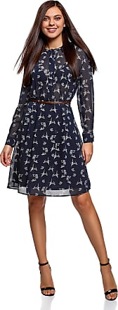 oodji Collection Womens Belted Flowing Dress, Blue, UK 16 / EU 46 / XXL