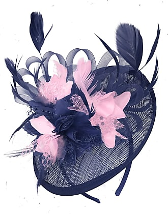 Caprilite Navy Blue and Baby Pink Sinamay Disc Saucer Fascinator Hat for Women Weddings Headband
