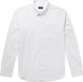 a91eb83d11 Club Monaco Slim-fit Button-down Collar Printed Cotton-poplin Shirt - White
