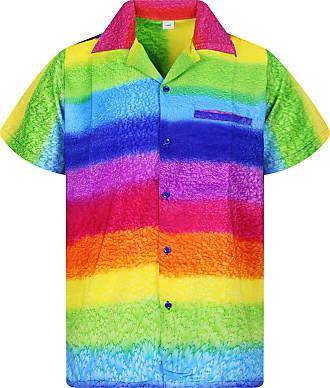 V.H.O. Funky Hawaiian Shirt, Shortsleeve, Rainbow Horizontal, Multicoloured, XL