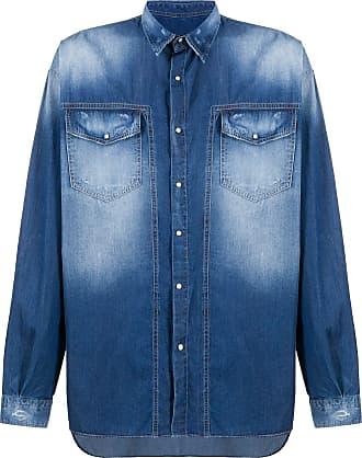 Frankie Morello Camisa jeans com efeito desbotado - Azul