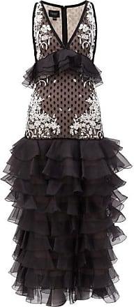 Giambattista Valli Ruffled Polka-dot Flocked Organza Gown - Womens - White Black