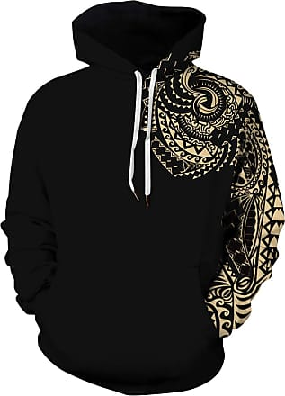 Ocean Plus Mens Hoodie Long Sleeve Pullover Wolf Tiger Hoody with Kangaroo Pocket (XXL/3XL (Chest: 126-146CM), Gold Left arm)