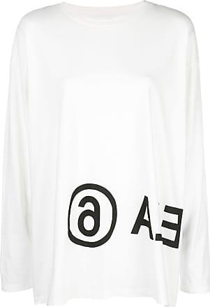 Maison Margiela Camiseta mangas longas com logo - Branco