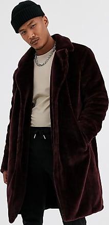 Topman overcoat in burgundy faux fur-Red