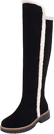 RAZAMAZA Women Fashion Flats Knee Boos Half Zipper Round Toe Winter Boots Black Size 40 Asian