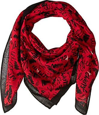 A|X Armani Exchange Womens Graphic Scarf, fuji red/black/white, One Size