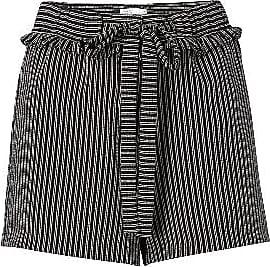 YaYa Jacquard Shorts mit Rüschen - Schwarz / Weiß Nadelstreifen - Size 36 (UK 10)