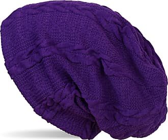 styleBREAKER Warm fine-Knit Beanie with Plait Pattern and Fleece Lining, Slouch Long Beanie, Unisex 04024131, Color:Violet
