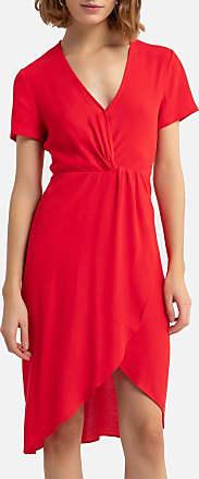 See U Soon Kleid mit V-Ausschnitt und Drapierung, Midi-Länge - ROT - SEE U SOON