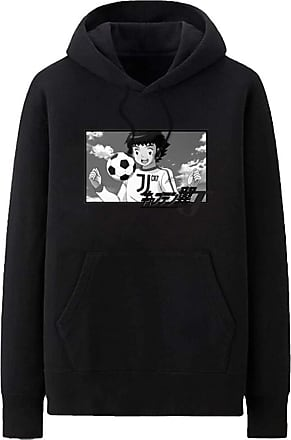 Haililais Captain Tsubasa Pullover Hoodie Popular Sweatshirt Simple Leisure Printed Pullover Long Sleeve Tops with Pocket Unisex (Color : Black01, Size : Height