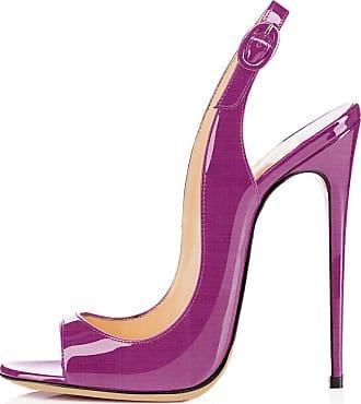 EDEFS Womens Slingback Open Toe Sandals Buckle Closure Summer High Heel Shoes Purple Color EU39