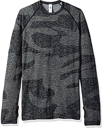 hpe clothing Mens Cross X Seamless L/s Top, Dark Grey camo, M